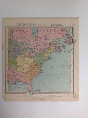 United States Eastern Division & Canada 1875 antique map, nelson's original, Atl