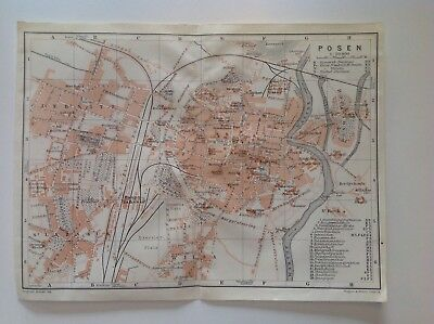 Posen, Germany, 1913 Antique Map, Original Wagner & Debes, Atlas