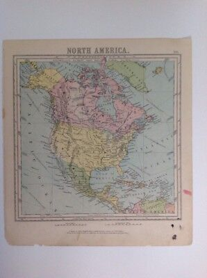 North America  1875 antique map, nelson's original, Atlas
