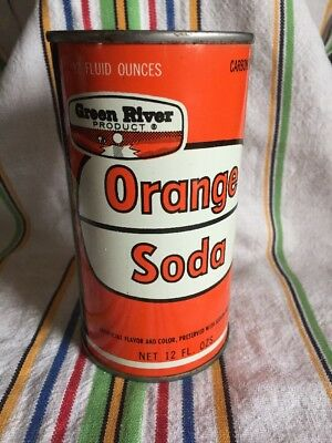 Vintage Green River flat top Orange soda pop can Chicago