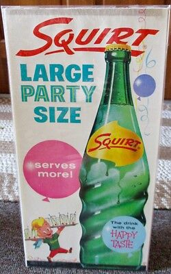 "1960 SQUIRT SODA ""Large Party Size"" WINDOW SIGN...NOS & NICE!"