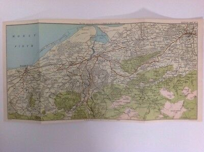 Scotland, Nairn, Elgin, 1897 Antique Map, Bartholomew, Atlas Original