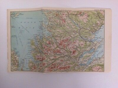 Scotland, Sutherland,  1897 Antique Map, Bartholomew, Atlas Original