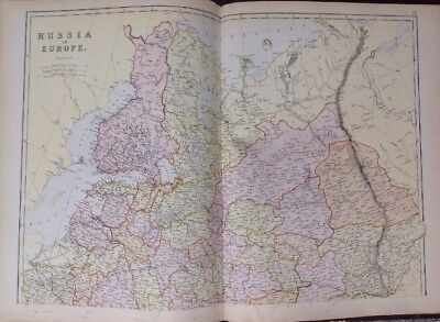 Russia In Europe 1882 Antique Map W.G. Blackie Atlas