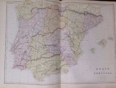 Spain And Portugal 1882 Antique Map W.G. Blackie Atlas