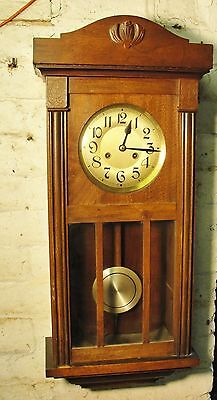 1930s ART DECO WALL CLOCK with CHIMES in jolly good working condition