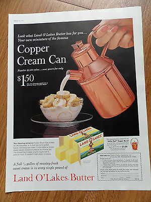 1960 Land O Lakes Butter Ad  The Copper Cream Can $150