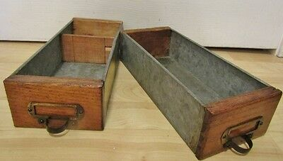 PAIR of WOOD/GALVANIZED PARTS DRAWERS.INDUSTRIAL SALVAGE HARDWARE STORE CABINET