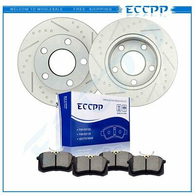 Front Drilled Slotted Brake Disc Rotors Ceramic Pad For Dodge Ram 2500 03-08