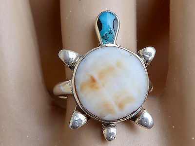Sterling Silver Native American Navajo Turquoise & Shell Turtle  Ring Sz 7