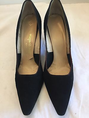 Jacqueline Size 9.5 Narrow Black Velour Pumps Heels Vintage Designer Shoes