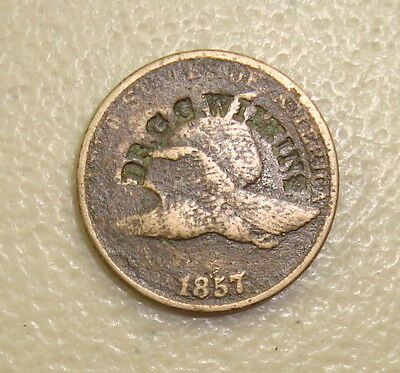 DR G.G. WILKINS Pittsfield NH Brunk W-610 Counterstamp on 1857 Flying Eagle Cent