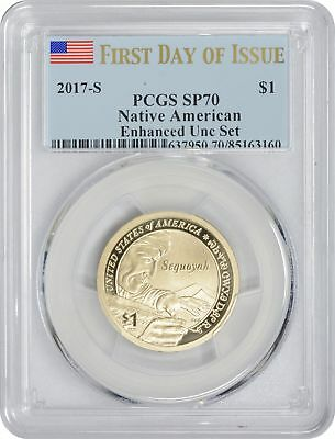 2017-S Enhanced Uncirculated Set Sacagawea Dollar SP70 PCGS First Day Issue Flag