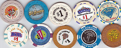 Lot Of 10 Different Nevada Casino Chips-Some Old, Some New