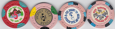 Lot Of Four Different $5 Nevada Casino Chips-Small Crown Mold