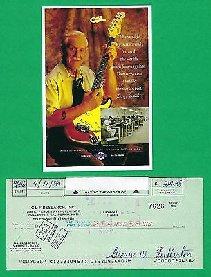 George Fullerton CLF Music Man 1980 Autographed Signed Payroll Check & HP Photo