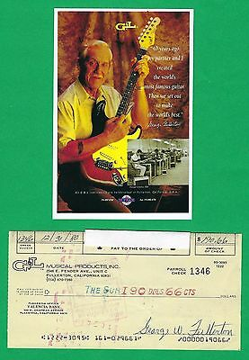 George Fullerton G&L Music Man 1980 Autographed Signed Payroll Check & HP Photo
