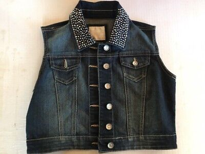 Justice Denim Jean Jacket Girls Size 16 Rhinestone Crystal Studs Blue Sleeveless