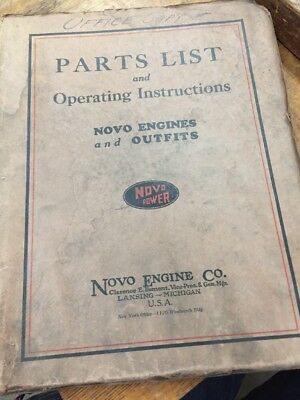 1928 / Novo Engine Company / Operating Manual Repair / Instruction Parts List
