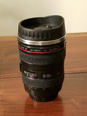 Black Canon Caniam EF 24-105mm Camera Lens Thermos Stainless Steel Mug Cup NWOT