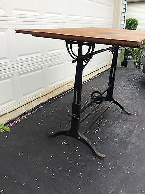 Antique Cast Iron Drafting Table Adjustable Crank Cast Iron Drafting Table