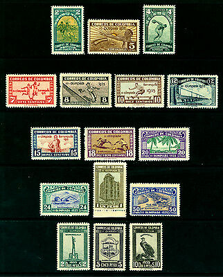 COLOMBIA 1935 3rd Nat. OLYMPIC GAMES BARRANQUILLA long set  Sc# 421-435 mint MLH