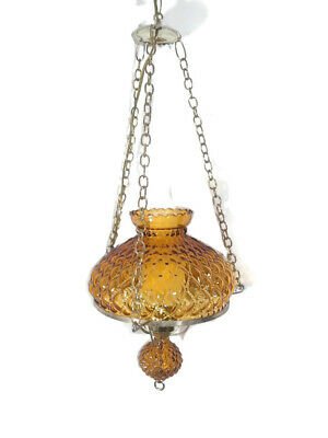 Vintage 1960's-1970's Amber Glass Hanging Chain Swag Brass Lamp W/glass Chimne