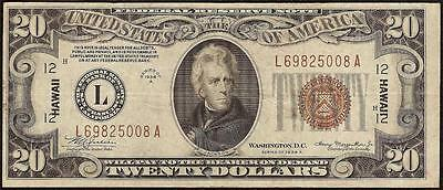 1934 A $20 Dollar Bill Hawaii Brown Seal Federal Reserve Note Wwii Currency Vf