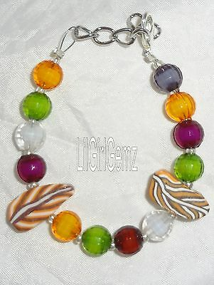 NEW girls fall leaves autumn clay beaded bracelet boutique custom