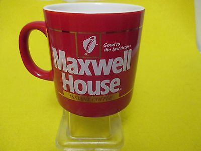 Vintage 1980's Instant MAXWELL HOUSE Coffee Cup/Mug 12 oz.  Red