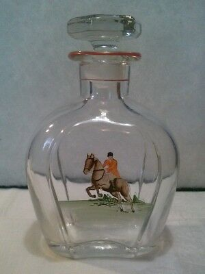 Vintage decanter with red trim and hand painted english horse and rider scene
