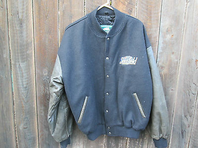 SEINFELD Vintage Leather Wool TV Cast Crew Baseball Jacket LARRY DAVID Yada Yada