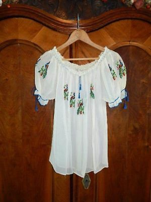 VINTAGE PEASANT TOP~Sheer Embroidered Peacock Ethnic/ Hungarian/  Mexican Blouse