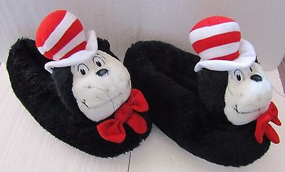 Dr. Seuss Cat In The Hat Slippers Children Size Large (9-10 1/2)