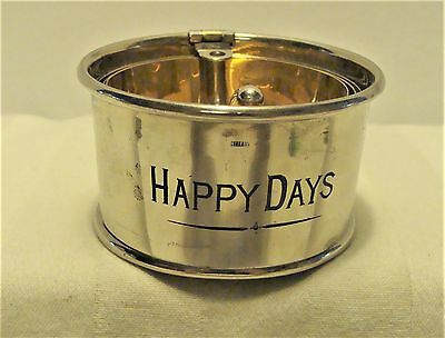 "VINT SILVER PLATED ""HAPPY DAYS"" COLLAPSIBLE BAR / COCKTAIL / DRINK CUP w HANDLE"