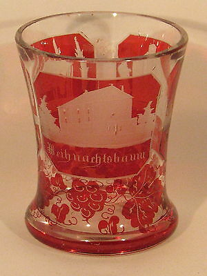 Bohemian Glass Friendship Cup With 3 Ruby Flashed Panels of engraved buildings