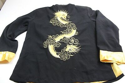 Black Gold 100% Silk Stitched Dragon Satin Jacket Shirt XL Slim Fit
