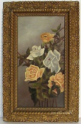 Antique  American Still Life Of Roses Oil Painting , Signed