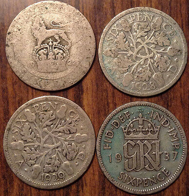 Lot Of 4 Uk Gb Great Britain Sixpence .500 Silver Lot Of 4 Coins