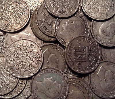 1920 To 1946 Uk Great Britain .500 Silver Sixpence Buy 1 Or More Its Free S/h!