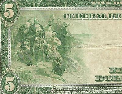 LARGE 1914 $5 DOLLAR BILL FEDERAL RESERVE NOTE BIG PAPER MONEY CURRENCY Fr 859C