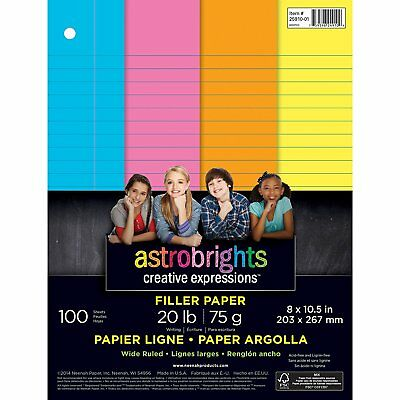 "Astrobrights Color Paper, Wide Ruled Filler Paper, 3-Hole Punched, 8"" x 10.5"","