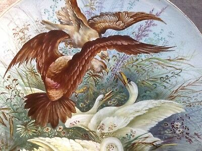 Dramatic Birds Of Prey Attacking Swans Signed Large Antique Charger