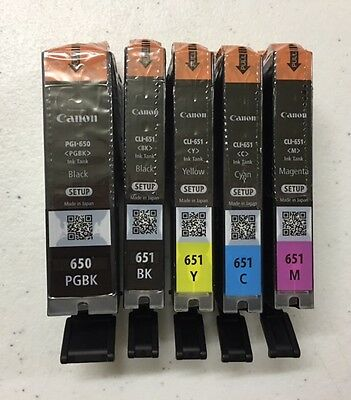 Canon Genuine Ink Set x 5 Cartridges PGI-650 (PGBK) CLI-651 (BK,Y,C,M)
