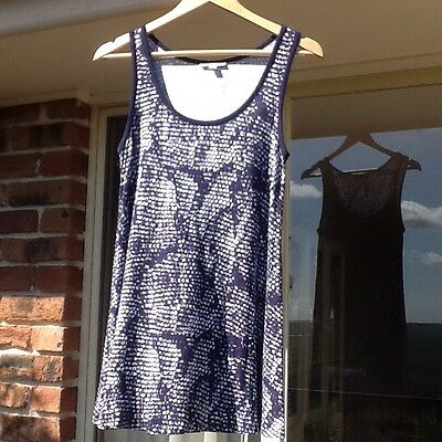Womens Maternity Tunic Top In Navy/white Size 10