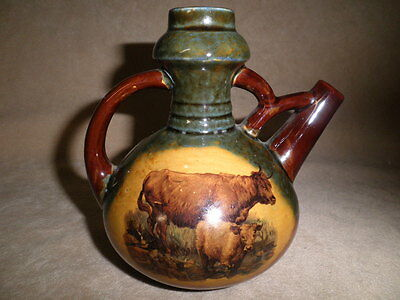 Antique Pitcher With Cow & Calf Decoration And Stylish Spout & Handle