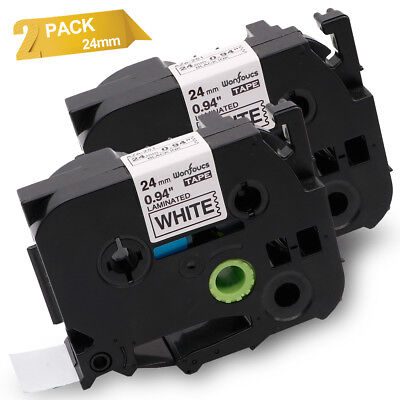Compatible for Brother TZe-251 Black on White 24m P-touch Label Tape 2PK