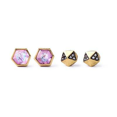 2 Pairs of Stylish Cubic Antique Gold Stud Earrings - Pink / Black