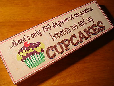 NEW Whimsical Cupcake Bakery Cafe Coffee Shop Kitchen Cake Baker Decor Sign CUTE