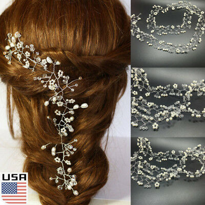 US Luxury Jewelry Pearl Crystal Tiara Hairband Clip Wedding Party Hair Accessory